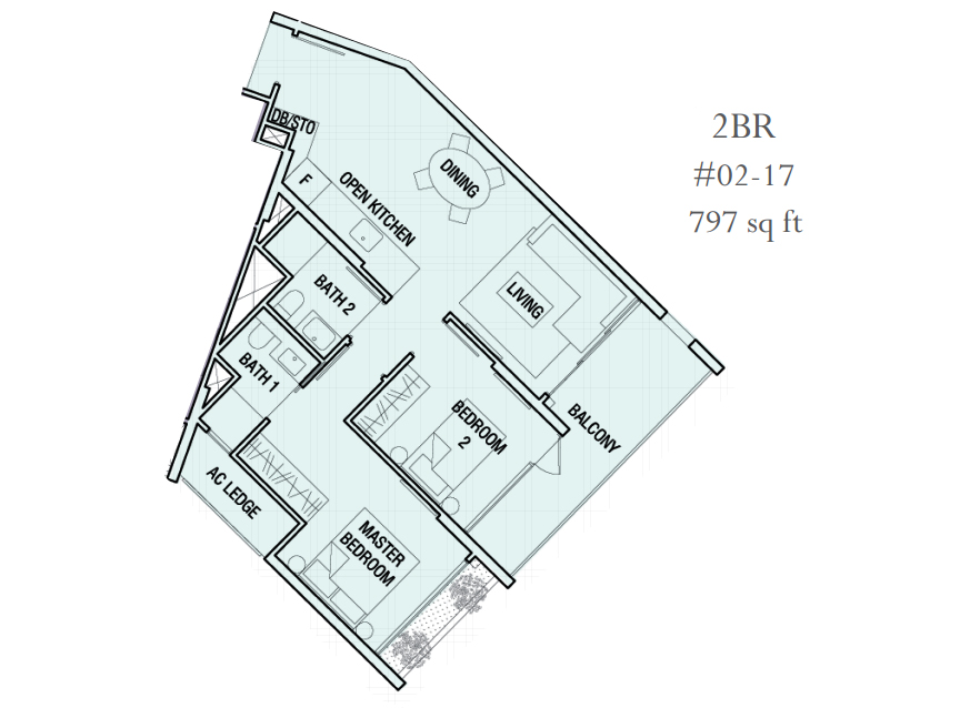 The Crest Floor Plan 2 Bedroom